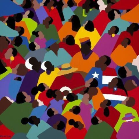 Juneteenth artwork showing a crowd of Black people